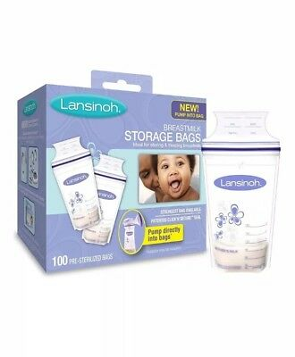 Lansinoh Breastmilk Storage Bags With Convenient Pour Spout and Patented 100Bags