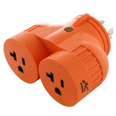 NEMA L14-20P to 2 NEMA 5-20R Multi-Outlet V-DUO Generaor Adapter by AC WORKS™