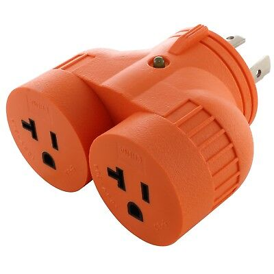 Multi-Outlet Generator V-DUO Adapter NEMA L14-30P to 2 NEMA 5-20R by AC WORKS™