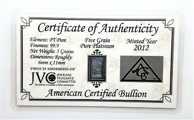 1/3 Gram .999 Fine Platinum Bullion Bar - in Certificate of Authenticity Card