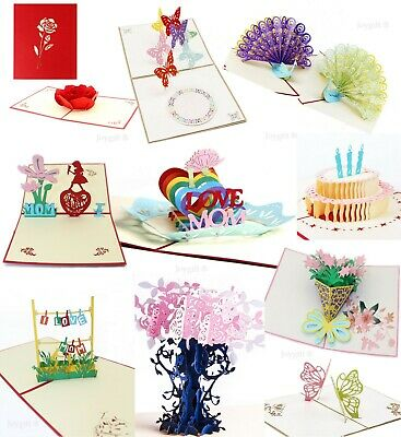 3D Pop Up Greeting Cards Happy Birthday Anniversary Love Gift Handmade Postcards