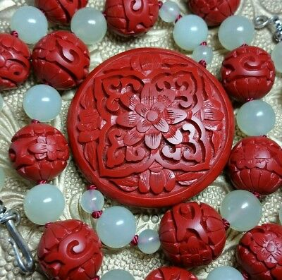 "Vintage Antique Chinese Carved Lotus Cinnabar Celadon Jade Bead 22"" Necklace"