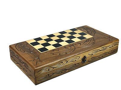 Backgammon,chess & Checker Set Solid Wood Handmade Inlaid Carving 20""