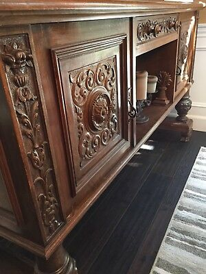Antique Italian Wood Carved Dining Room Buffet Sideboard