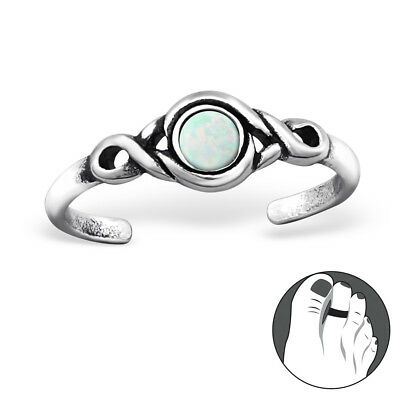 TJS 925 Sterling Silver Toe Ring Tribal Round Adjustable Body Jewellery Oxidised