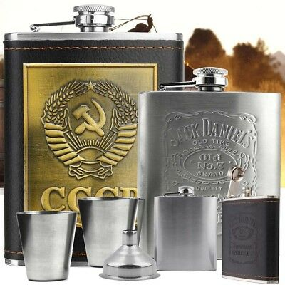 7oz Stainless Steel Hip Flask Liquor Alcohol Drink 2 Cups 1 Funnel Box Best Gift