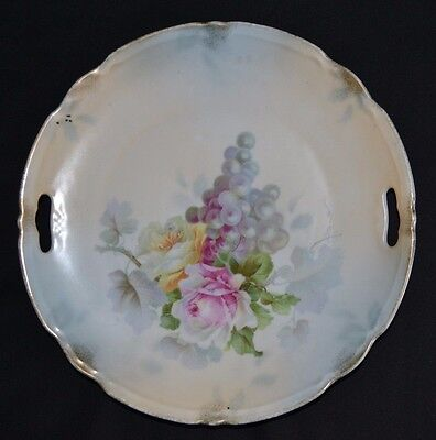 """MW Co.(Mitchell Woodbury Company) Hand Painted Plate Grapes & Roses 9.5"""" Germany"""