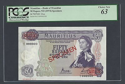 Mauritius 50 Rupees ND(1973) P33cs Specimen TDLR N001 Uncirculated