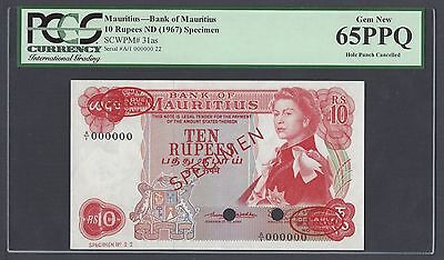 Mauritius 10 Rupees ND(1967) P31as Specimen TDLR Uncirculated