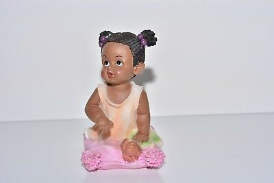 Rare Resin Figurine | Black Baby Girl on Cushion with Doll | Good Condition