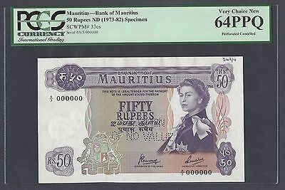 Mauritius 50 Rupees ND(1973) P33cs Specimen Perforated Uncirculated