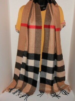 Burberry Women's Classic Cashmere Scarf Heritage Check Camel Check