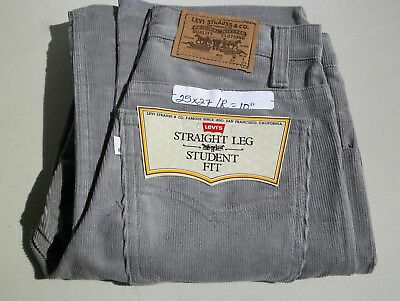 "Levi's Straight Leg Student Fit Corduroy Gray Cords Pants  Waist 25"" Inseam 27"""