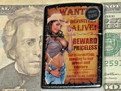 New Zippo USA Windproof oil Lighter 15404 Cowgirl Wanted Alive Reward Priceless