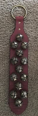 Vintage 1970's Brass Sleigh Bell Door Hanging - 13 Bells with Leather Strap
