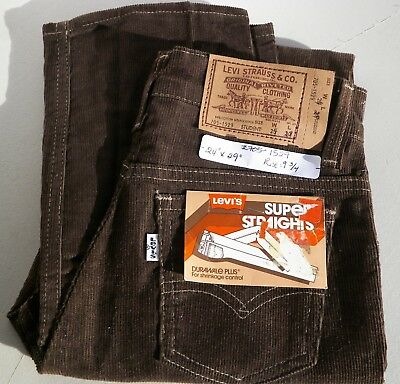 "Levi's Super Straight Corduroy Vintage Brown Cords Pants  Waist 24"" Inseam 29"""