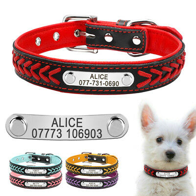 Personalized Braided Leather Dog Collar Custom Soft Padded Collars Engraved XS-L