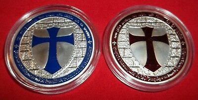Red & Blue Cross Masonic Knights Templar Silver Plated 2 Commemorative Art-Coins