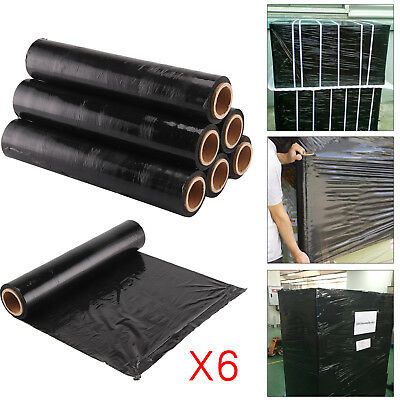 6X Strong Roll Black Pallet Stretch Shrink Wrap Parcel Packing Cling Film