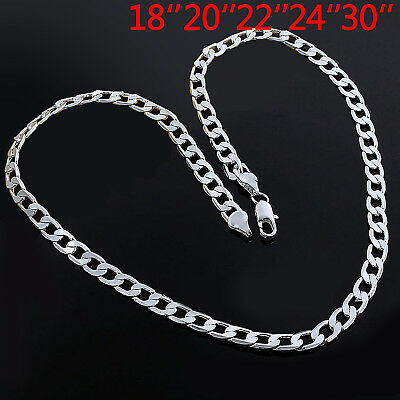 4mm Gift Solid 925 Sterling Silver Curb Chain Trace Necklace 18 20 22 24 30Inch