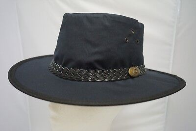 Jacaru Oilskin Waxed Cotton NAVY HAT Foldable Crushable Waterproof Aussie Made
