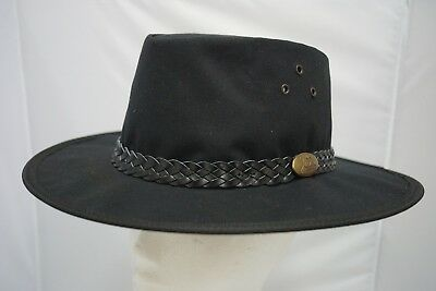 Jacaru Oilskin Waxed Cotton BLACK HAT Foldable Crushable Waterproof Aussie Made