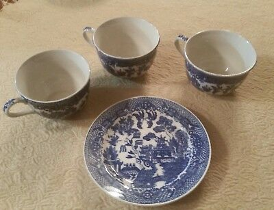Lot 3 Vintage House Of Blue Willow Teacups Coffee Cups and 1 Bread Plate Japan