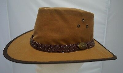 Jacaru Oilskin Waxed Cotton HAT Camel Foldable Crushable Waterproof Aussie Made