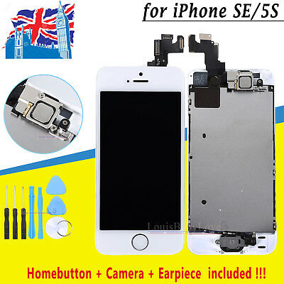 Replacement LCD For iPhone SE 5S Touch Digitizer Screen White Home Button Camera