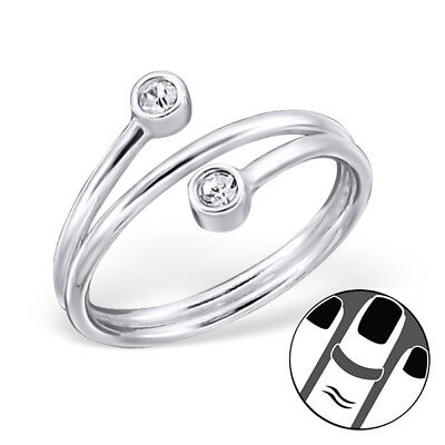 TJS 925 Sterling Silver Midi Ring Twist Spiral Wrap US Size 3.5 Fine Jewellery