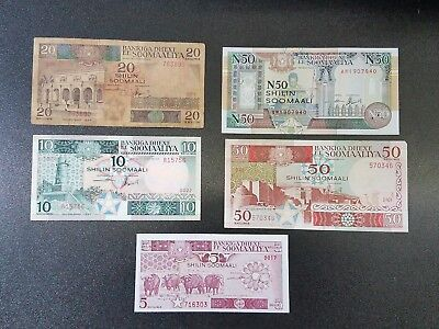 SOMALIA Lot of 5 Banknotes 5 10 20 50 Shillings 1986 1987 1990 Better Grade   #2