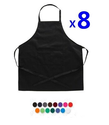 8x Plain Apron Bib Water Proof Pocket Butcher Waiter Chef Kitchen Cooking Craft