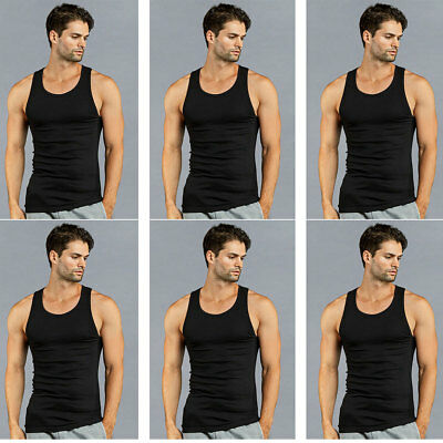 25415cc823e0e4 6 PK Mens Black Tank Top 100% Cotton A-Shirt Wife Beater Ribbed Undershirt
