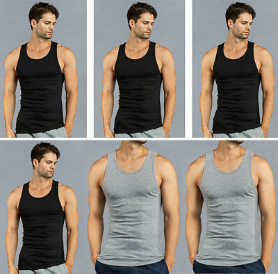 787f618f8f7c1 6 PK Men s Black Gray Tank Top 100% Cotton A-Shirt Wife Beater Ribbed