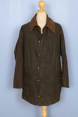 Mens BARBOUR Border WAXED Jacket Green Size 46