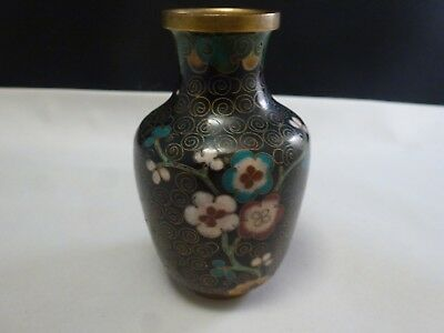 "Small Antique 3 1 /4  "" Tall Chinese Black Cloisonne Vase"