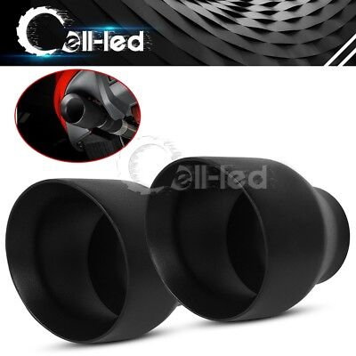 """1 Pair Double Wall Weld On Exhaust Tips 2.5"""" Inlet 4"""" Outlet 5"""" Long S/S Black"""