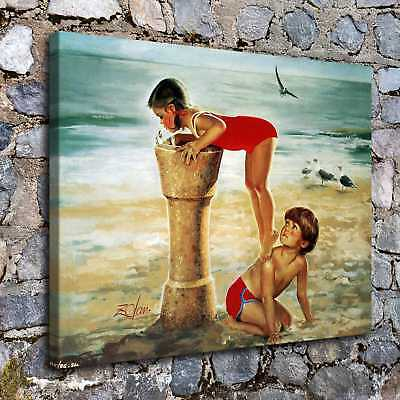 "12""x16""A6421-kids on The Beach Home Decor Room HD Canvas Print Wall Art Picture"