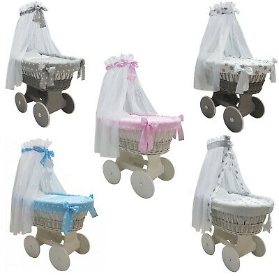 Complete White Wicker Moses Basket With Stand Big Wheels Bedding Drape 13 Colour