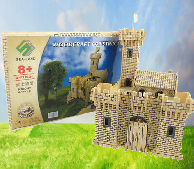 DIY Dolls House Miniatures Kit 3D Castle Soldiers Wooden Model Kids Toy Gifts