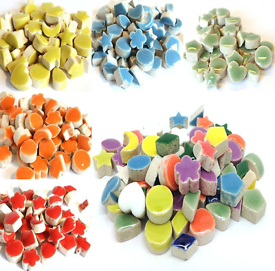Small Glazed Ceramic Mosaic Shapes for Arts and Crafts - Various Colours