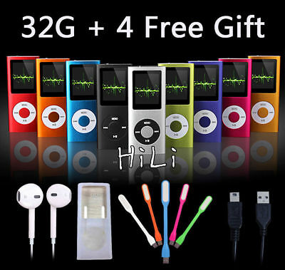 AU STOCK 32GB Internal Storage Slim iPod Style MP3 MP4 Player Music& 4 Free Gift