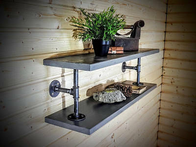 Industrial Wooden Shelves made with Pipe Fittings - Custom Shelving, Vintage