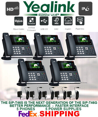 Yealink Sip-T46S 16-Line Gigabit Ip Voip - Color Display-5 Phones/power Adapters