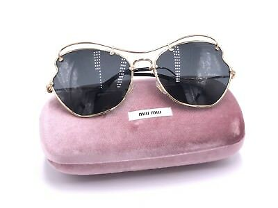 0e461c7f7399 MIU MIU SMU56R 7OE-1A1 Sunglasses Gold Frame with Gray Lens AUTHENTIC  BUTTERFLY