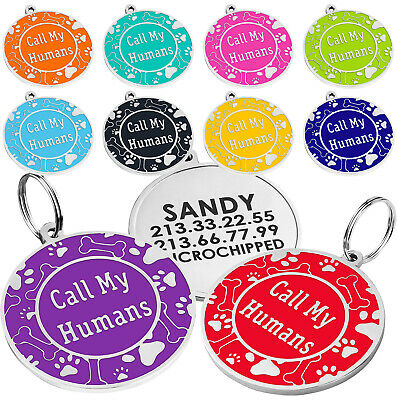 Dog ID Tag Personalized Custom Engraved Pet Tags Enamel Charm Small Large