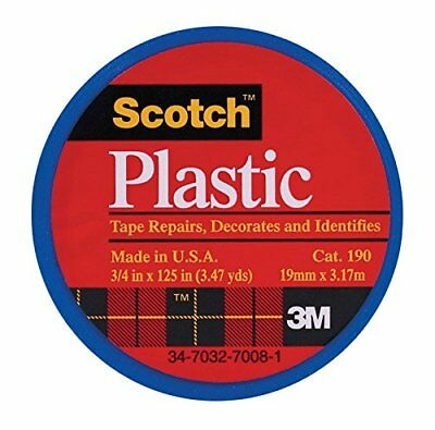 "3M Scotch 190 Colored Plastic Tape 125"" Length x 3/4"" Width Blue (Pack of 6)"