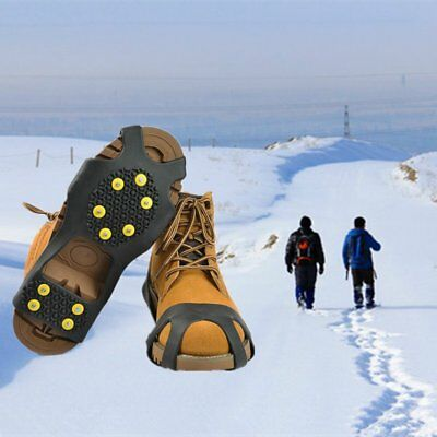 Universal Ice No Slip Snow Shoe Spikes Grips Cleats Quality Crampons 10-Stud