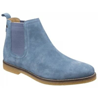 9fe4aa674e2534 Base London FERDINAND Mens Suede Leather Casual Pull On Chelsea Ankle Boots  Blue
