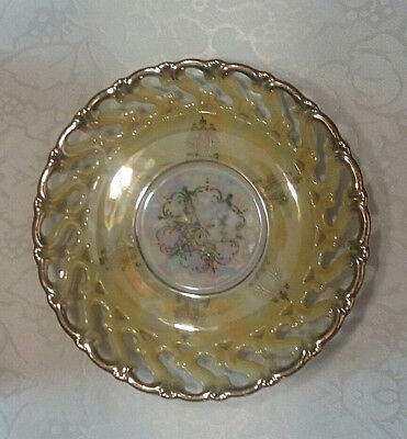 Brilliant Vintage Royal Sealy China Plate Cut Out Lattice with Gold Edge Japan
